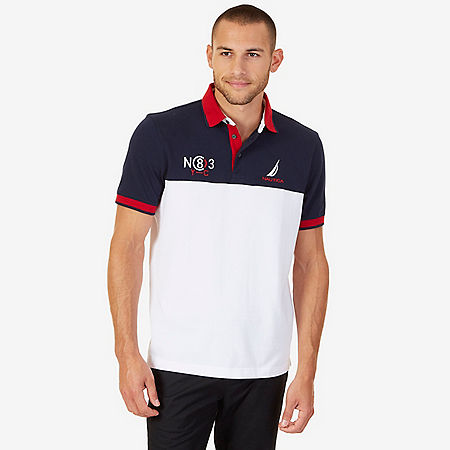 Classic Fit Colorblock Pique Polo Shirt - Bright White