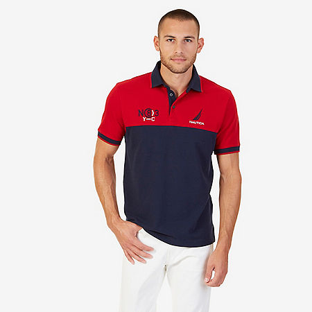 Classic Fit Colorblock Pique Polo Shirt - Navy