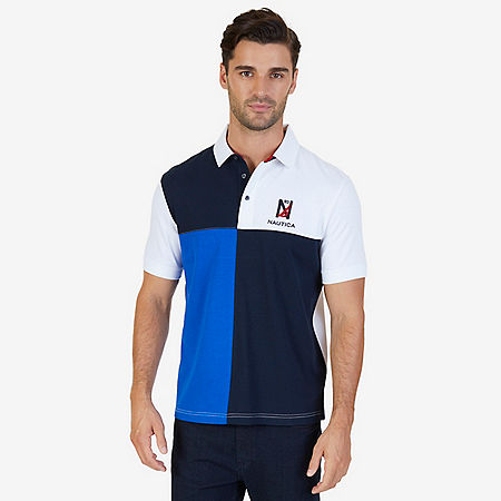 Classic Fit Colorblocked Grid Logo Polo Shirt - Bright White