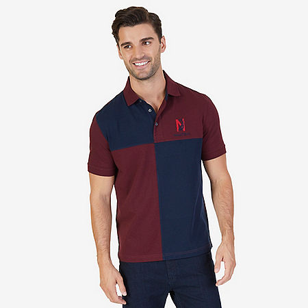 Classic Fit Colorblocked Grid Logo Polo Shirt - Royal Burgundy