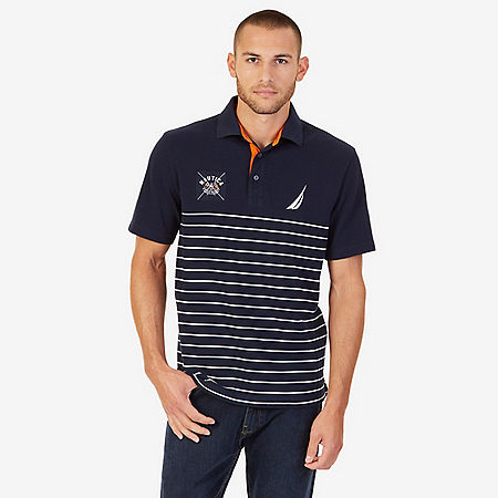 Classic Fit Striped Logo Polo Shirt - Navy