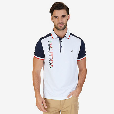 Classic Fit Short Sleeve Bold Logo Performance Polo - Bright White