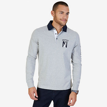 Classic Fit Long Sleeve Logo Polo Shirt - Grey Heather