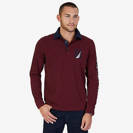 Classic Fit Long Sleeve Logo Polo Shirt - Royal Burgundy