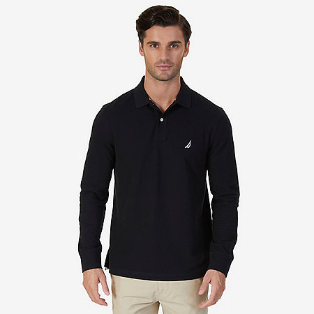 Classic Fit Long Sleeve Polo Shirt - True Black