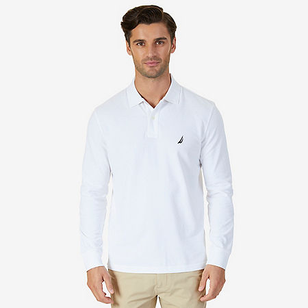 Classic Fit Long Sleeve Polo Shirt - Bright White