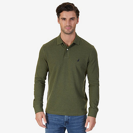 Classic Fit Long Sleeve Polo Shirt - Billiard