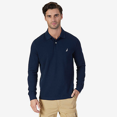 Classic Fit Long Sleeve Polo Shirt - Navy
