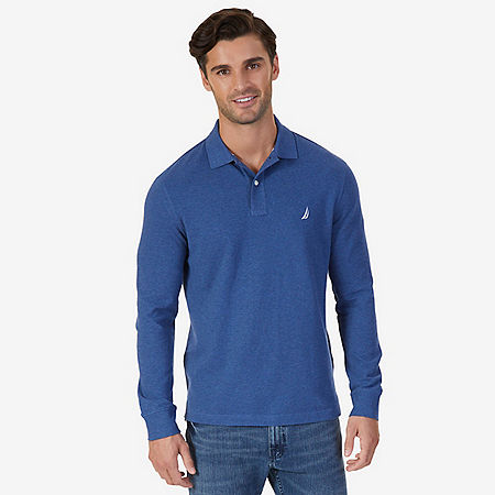Classic Fit Long Sleeve Polo Shirt - Aquamarine