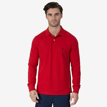 Classic Fit Long Sleeve Polo Shirt - Nautica Red