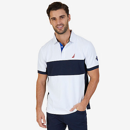 Classic Fit Short Sleeve Chest Stripe Polo with Logo Detail - Bright White