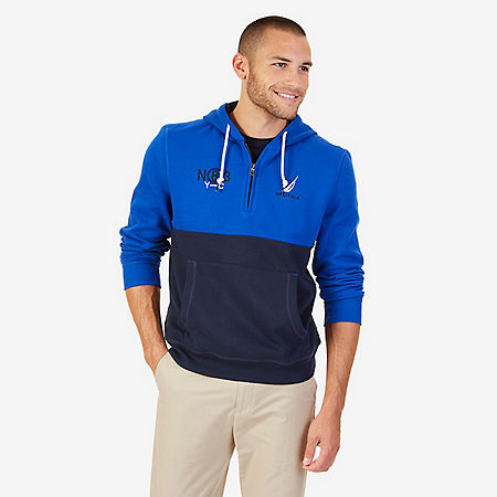 Quarter Zip Active Hoodie - Bright Cobalt