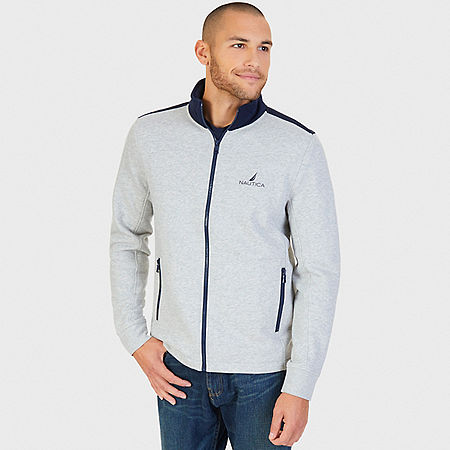J Class Zip Front Track Jacket - Grey Heather