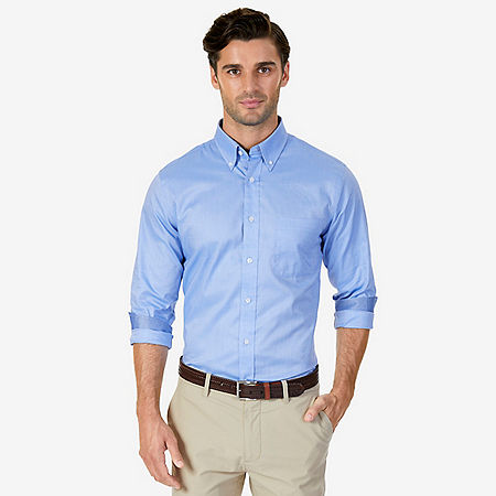 Wrinkle Resistant Solid Oxford Dress Shirt - Silver Lake Blue