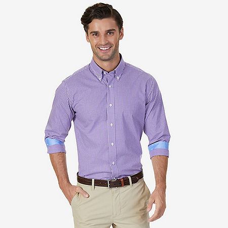 Wrinkle Resistant Classic Fit Gingham Dress Shirt - Loganberry Heather