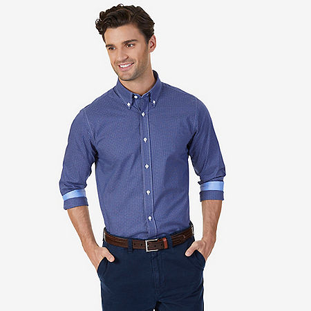 Wrinkle Resistant Classic Fit Check Dress Shirt - Classic Blue