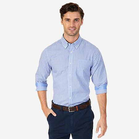 Wrinkle Resistant Classic Fit Plaid Dress Shirt - Nautica Blue