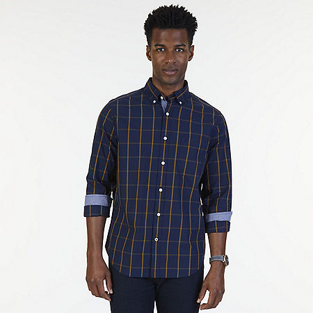 Big & Tall Classic Fit Windowpane Poplin Shirt - Peacoat