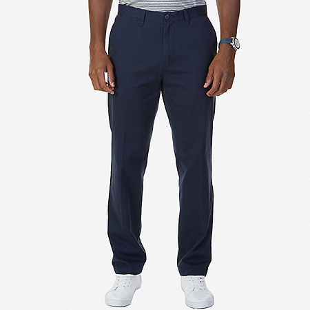 Flat Front Classic Fit Pants - True Navy