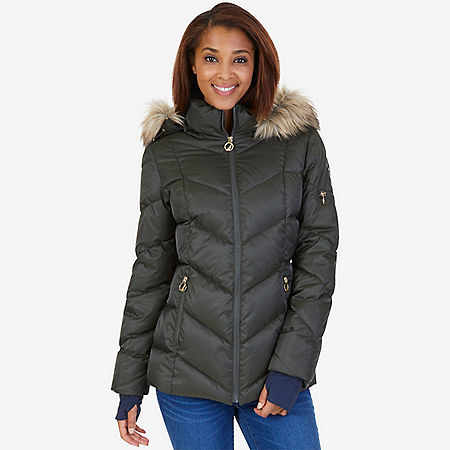 Faux Fur Hood Diamond Quilt Puffer Jacket - Light Olive