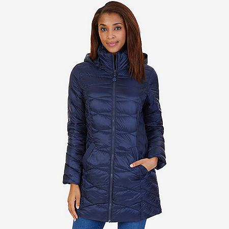 Long Down Puffer Coat - Dreamy Blue