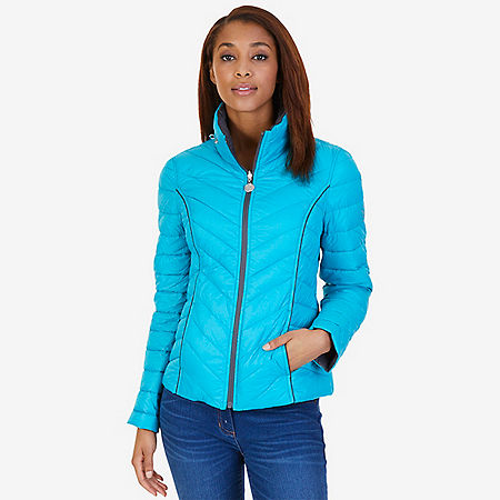 Reversible Down Puffer Jacket - Compass Blue