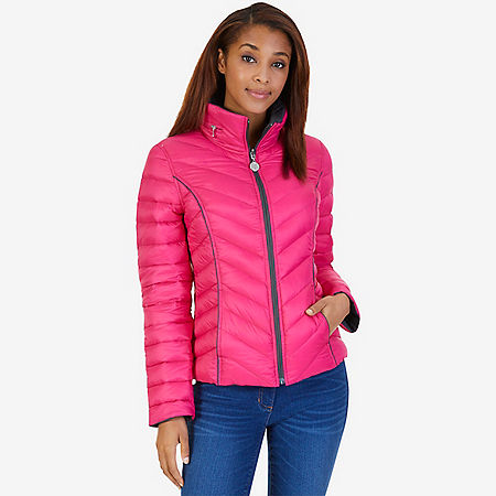 Reversible Down Puffer Jacket - Red Chili