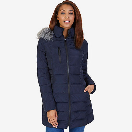 Galaxy Faux Fur Hooded Puffer Coat - Dreamy Blue