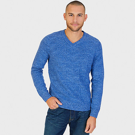 Chevron V-Neck Sweater - Indigo Blue