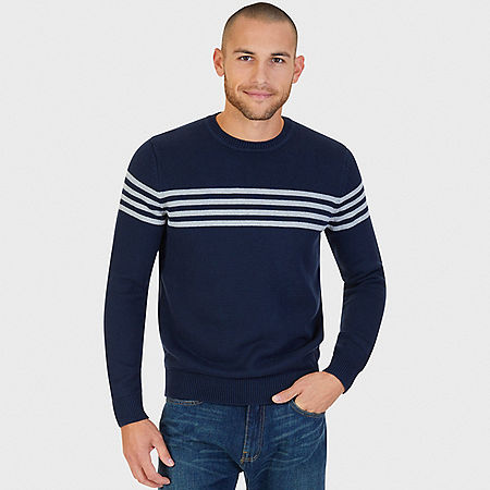 Striped Crew Sweater - Navy