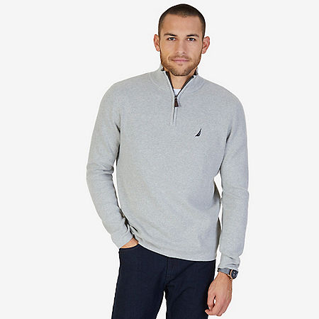Quarter Zip Pullover Sweater - Grey Heather