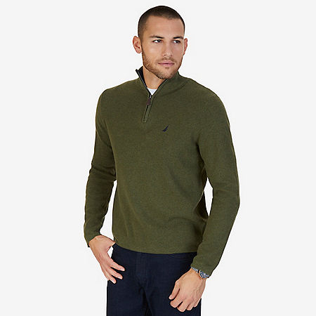 Quarter Zip Pullover Sweater - Billiard