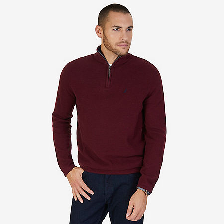 Quarter Zip Pullover Sweater - Royal Burgundy