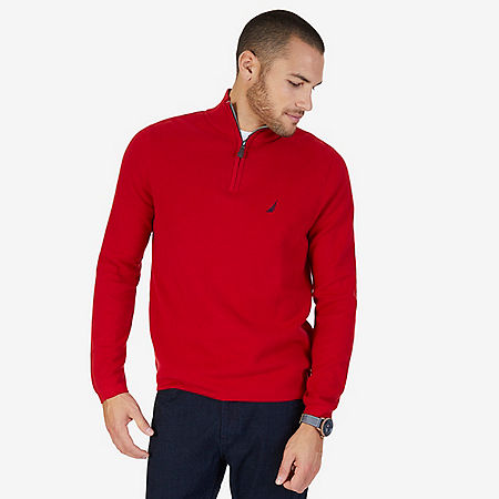 Quarter Zip Pullover Sweater - Nautica Red