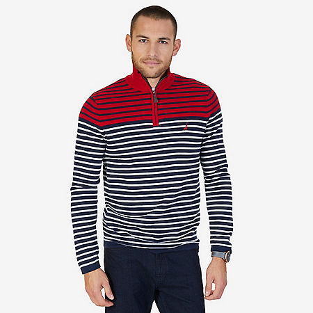 Striped Quarter Zip Pullover Sweater - Nautica Red