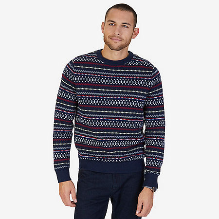 Fair Isle Crew Sweater - Navy