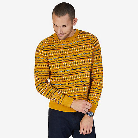 Fair Isle Crew Sweater - Light Mimosa