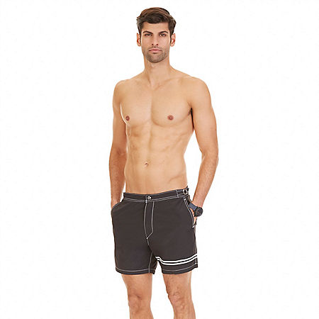 Quick Dry Contrast Stripe Swim Trunk - True Black
