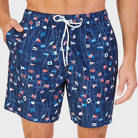 Quick Dry Sail Print Trunk - Navy