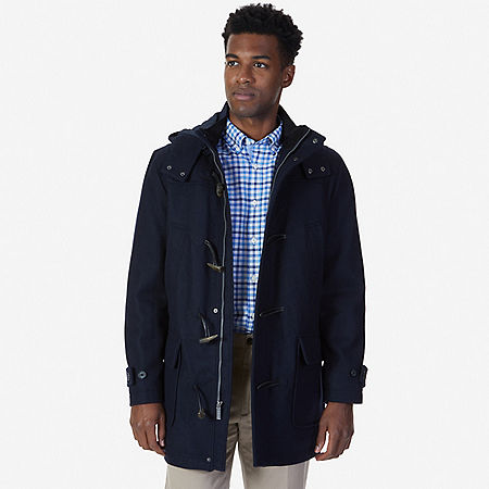 Hooded Toggle Coat - Navy