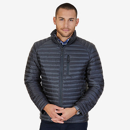 Quilted Nylon Down Jacket - Dark Black Heather