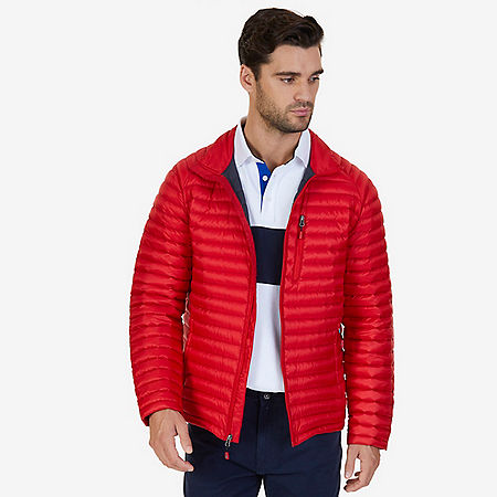 Quilted Nylon Down Jacket - Nautica Red/Orange