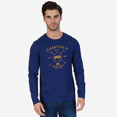Rowing Team Graphic Long Sleeve T-Shirt - J Navy