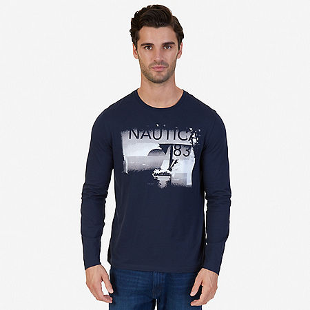 White Lines Graphic Long Sleeve T-Shirt - True Navy