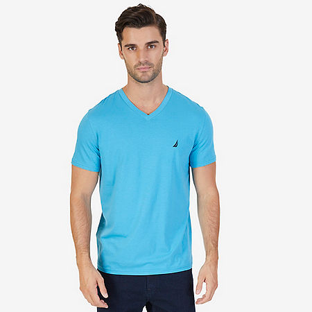 Solid V-Neck T-Shirt - Blue Moon
