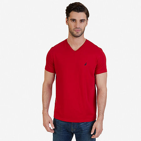 Solid V-Neck T-Shirt - Nautica Red