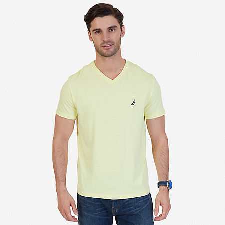 Solid V-Neck T-Shirt - Lemon Mist