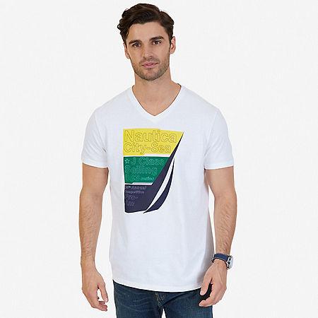 City-Sea Graphic V-Neck T-Shirt - Bright White