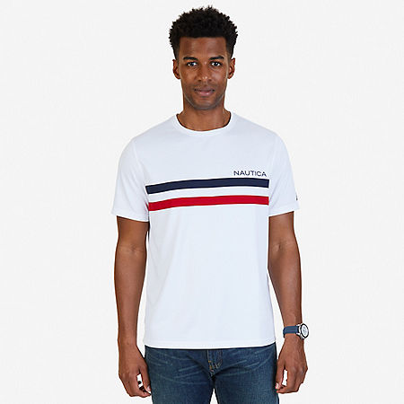 Chest Stripe Wicking T-Shirt - Bright White