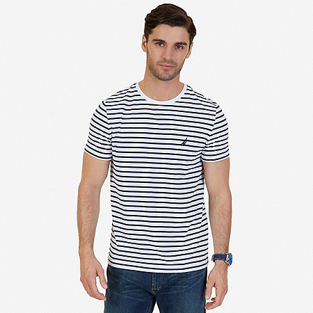Striped Crew-Neck T-Shirt - Bright White